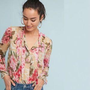 Anthropologie Tops - Anthropologie | Eden Tie Sleeve Blouse Floral New